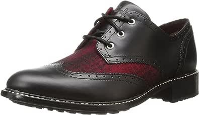 Woolrich 女士 Selvedge 系带布洛克牛津鞋 Metal/Red Buffalo Check 10.5 M US