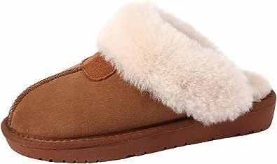 U-lite 女士冬季保暖舒适羊毛绒面仿麂皮房子拖鞋,女士保暖羊毛拖鞋 Chestnut (Cowhide Suede) 5.5 M US