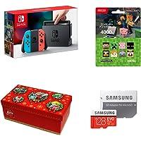 Nintendo Switch Joy-Con (L) 霓虹蓝/ (R) 霓虹红+任天堂预付卡4000日元(Minecraft)+【Amazon.co.jp限定】礼品套装【大】 (马里奥) +Samsung microSDXC卡 128GB EVO Plus MB-MC128GA/ECO