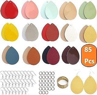 AOUXSEEM 85 件人造革耳环制作套装,适合初学者,28 个预切割双面耳环,带孔,抗*镀银耳环和吊环,14 对大号泪珠耳环