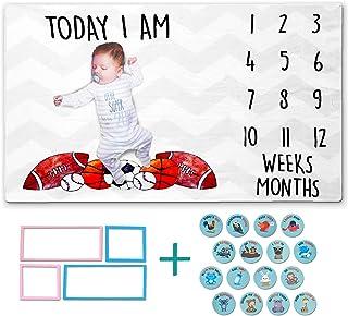 All Prime Sports 月刊婴儿里程碑毯子适合女婴或男婴 - 包括 18 个有趣的贴纸和 4 个边框 - 婴儿月历里程碑毯子带运动装备 - 超柔软羊毛上的可爱设计