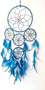 Odishabazaar 五圈多色捕梦器壁挂 - 吸引积极的梦想 蓝色 40x15 cm AB0747KLR76