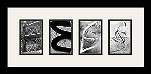 Art to Frames LetterArt-fees-319244-61/89-FRBW26079 字母艺术/字母摄影相框 - FEES - 带 4-4x6 开口。 和缎面黑色框架