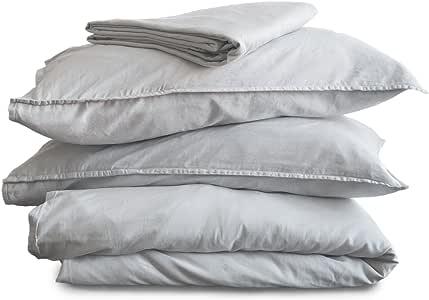 Ginkova 石洗羽绒被套装——* 柔软棉——羽绒被套,床笠,2 个枕套,葡萄牙制造 Harbor 喷雾 两个