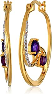 18k Yellow Gold Plated Sterling Silver Two-Tone African Amethyst and Created White Sapphire Wave Hoop Earrings
