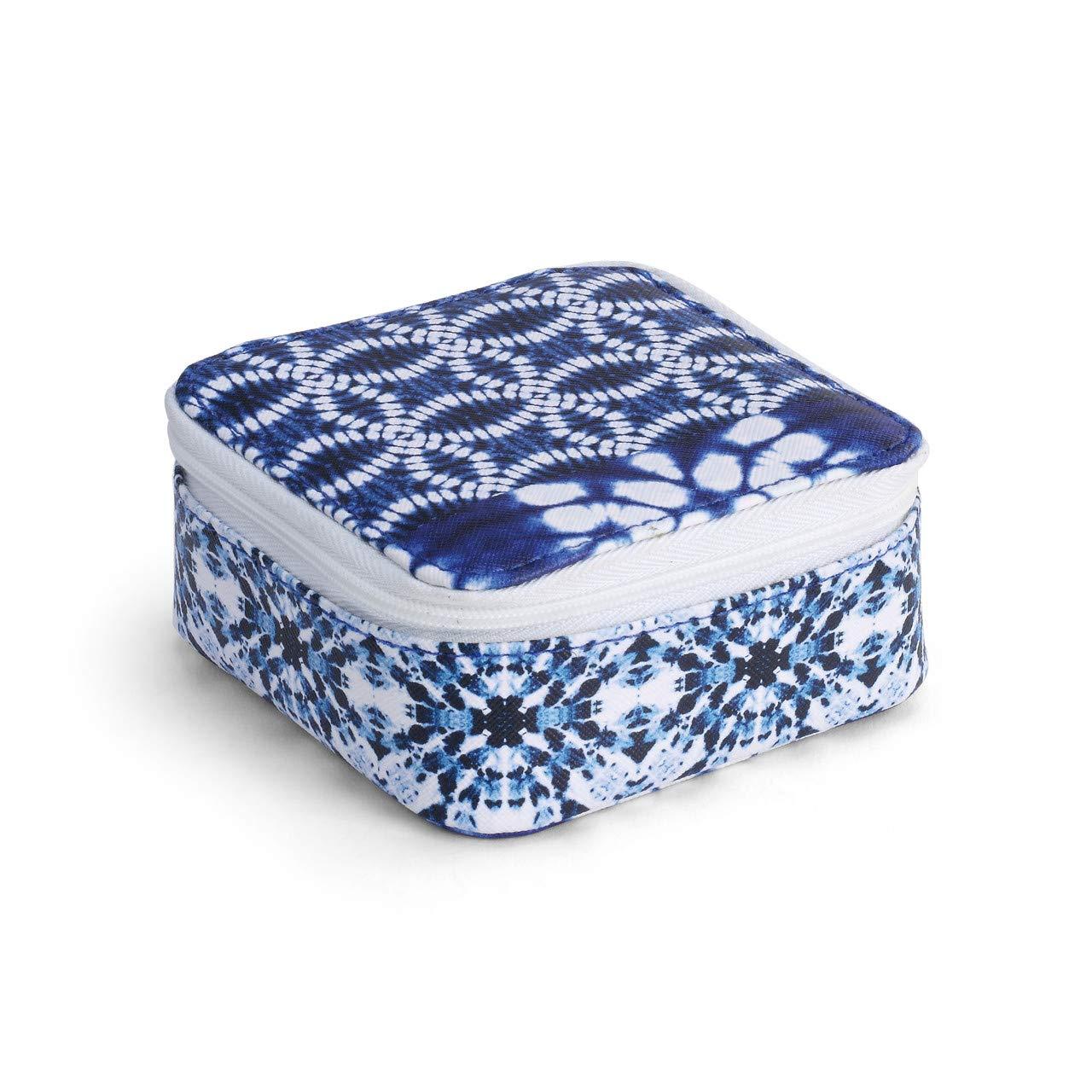 DEMDACO Shibori 图案 靛蓝 4 x 4 人造皮革尼龙首饰盒