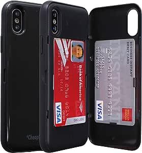 卡槽 iPhone Xr 手机壳,便宜的星期日信用卡插槽套,iPhone XR 全身护甲卡夹磁性车载支架 - 15.24 厘米 Black/Gun Metal