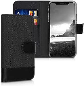 kwmobile 苹果 iPhone X 钱包手机壳 - 面料和 PU 皮革翻盖保护套,带卡槽和支架 - 无烟煤色/棕色42501.02_m000813 anthracite/black