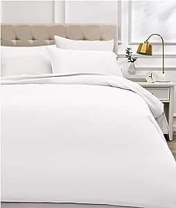 AmazonBasics 亚马逊 - 床上用品套装,纱线* 400,棉缎 白色 200 x 200 cm DS4-WHT-006