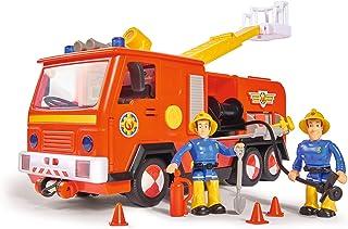 Simba 109251036 消防员山姆 木星消防车2.0,带有山姆和猫王人偶,带有灯光和声效,带有可伸缩梯子和探照灯,28cm,适用于3岁以上儿童