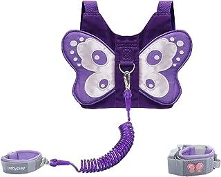 EPLAZA 婴幼儿蝴蝶胸背带防丢失手腕连接绳适用于儿童*行走 蝴蝶紫色 均码
