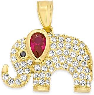 14k 纯金大象吊坠,配红色和白色方晶锆石,动物 CZ 首饰,送给家人、自豪和力量的礼物