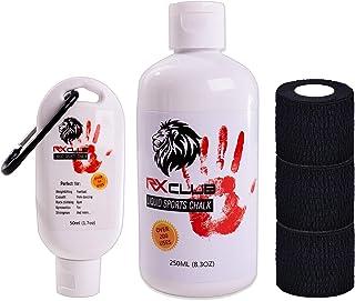 RxClub 液体粉笔 适合Crossfit(2 合 1 + 免费举重胶带)2瓶装 250 和 50 毫升 - 提高对杆的抓握力 - 完美适合混合健身、登山、体操、死举等运动