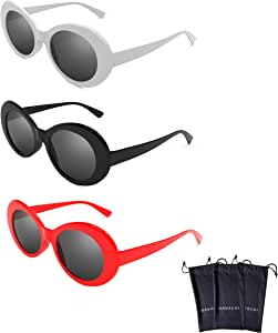 Hype N Clout Clout 护目镜套装带软壳- Kurt Cobain 椭圆太阳镜白色,黑色,红色