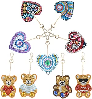 ZYXY 钻石画钥匙链 5D 马赛克制作全钻可爱动物钻石绘画吊坠 DIY 装饰,爱心和小熊