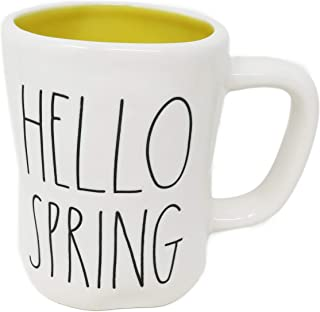 Rae Dunn By Magenta HELLO SPRING 陶瓷 LL 咖啡茶杯 带黄色内部