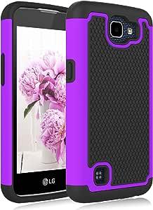 LG K4 手机壳,LG Optimus Zone 3 手机壳,LG Spree 手机壳,Jeylly(TM) [防震] 防刮混合橡胶塑料防冲击保护套坚固纤薄硬壳外壳适用于 LG Rebel LTE4326531588 紫色/黑色