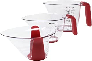 KitchenAid 美食 3 件套塑料量杯,紅色