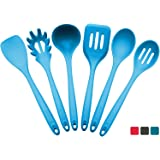 """StarPack Premium Silicone Kitchen Utensil Set (5 Piece) in Hygienic Solid Coating - Bonus 101 Cooking Tips Teal Blue XL Size 13.5"""" (6 Piece Set) - NEW!"""
