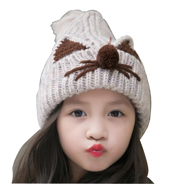 coolsome 冬季儿童女孩无檐小便帽帽子可爱狐狸猫钩针