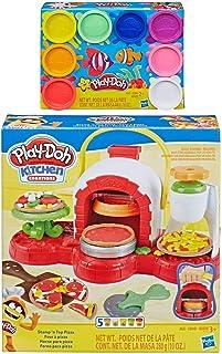 Play Doh Stamp 'n Top 披萨烤箱玩具 + Play Doh 8 件装彩虹彩泥