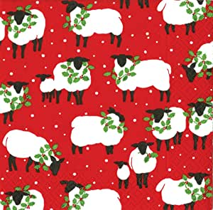 Entertaining with Caspari Festive Flock Paper Cocktail Napkins, Red, Pack of 20