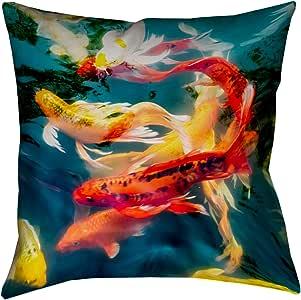 """ArtVerse Justin Duane Koi Pond x 35.56 cm Pillow-Spun 涤纶双面印花,隐形拉链和嵌片 18"""" x 18"""" DUA004P1818B"""