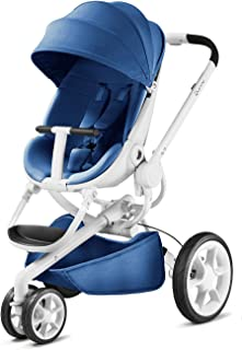 Quinny Moodd 嬰兒車,帶自動展開功能,雙向停止位置,現代設計,適用于新生兒到3.5 歲的寶寶 blue base/white