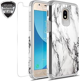 三星 Galaxy J7 V *二代/J7 Refine/J7 Top/J7 Star/J7 Aura/J7 2018 手机壳带钢化玻璃屏幕保护膜,Rosebono 混合图案彩色保护壳适用于 SM-J737 白色大理石