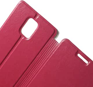 JUJEO Leather Card Slot Shell with Stand for Samsung Galaxy Note 4 SM-N910S SM-N910C - Rose - Non-Retail Packaging - Pink