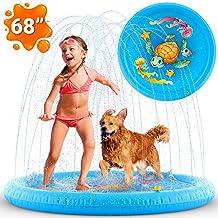 禪恩實驗室充氣濺灑水墊,潛水池,兒童泳池,兒童泳池和灑水器 | 幼兒戶外玩具 | 后院戲水游戲墊