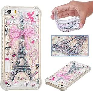 EMAXELER iPhone 5 SE 手机壳 iPhone 5S 手机套 3D 设计图案飘逸防秋快沙浮动闪亮液体软壳 iPhone 5S 5 SE TPU Tower