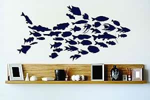 设计乙烯基 Cryst 150 174 As Seen Many Fish Creating Huge Fish Vinyl 墙贴艺术家居装饰卧室客厅,35.56 x 76.2 cm,如图所示