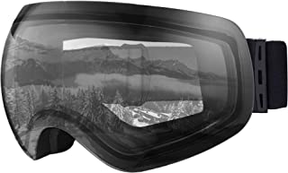 OTG 滑雪和滑雪护目镜 - 无框双层镜片滑雪、单板滑雪、摩托车和冬季运动 - 防雾和头盔兼容 - UV400 防护 - 适合男士、女士和青少年