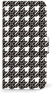 MITAS 智能手机壳翻盖式千鸟格方格黑白  C 4_AQUOS R (SH-03J)