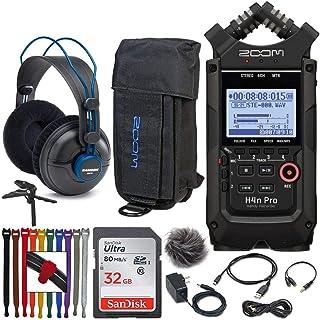 Zoom H4n Pro 4 输入 4 轨便携式手持录音机(黑色)+ Zoom PCH-4n 保护套和配件包适用于 H4n Pro + Samson SR970 专业耳机 + 32GB 存储卡 + 三脚架手柄