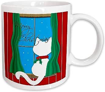mug_164794 Charlyn Woodruff - CW Designs Holidays - Christmas - Merry Christmas - Cute White Cat in Snowy Window - Mugs 11-oz