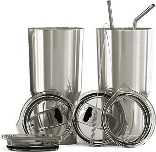 BluePeak 567 毫升双壁不锈钢真空保温杯,2 只装。 COLD 和 HOT 饮料。 包括吸管盖、防溢滑动盖、吸管、清洁刷和礼品盒 亮灰色
