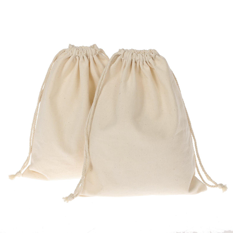 LING ' s moment 未漂白自然透明纯棉布抽绳礼品袋 Natural Cotton, Original White 8