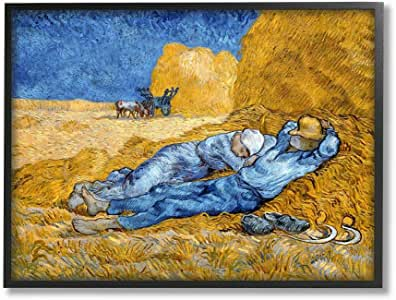 Stupell Industries Break Time 黄色蓝色经典绘画,Vincent Van Gogh Wall Art 设计,27.94 x 35.56 厘米,黑色带框