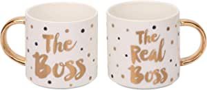 Grature Couples Mr and Mrs 咖啡马克杯礼品套装 | 他和她的新娘和新郎新娘结婚礼物 | 订婚、注册或周年纪念创意 Boss and Real Boss