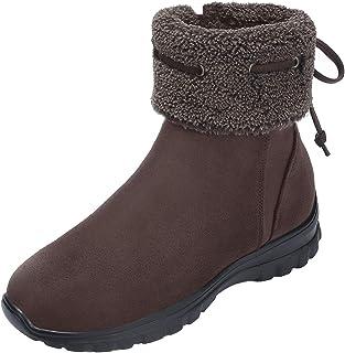 CAMEL 女式冬季毛皮装饰靴 - 舒适及踝雪地靴,带蝴蝶结休闲圆头侧拉链轻便一脚蹬短靴
