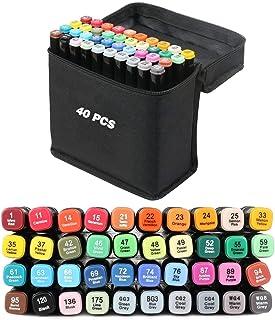 80 色图形记号笔,艺术家必备永久艺术马克笔双记号笔动画设计用于绘画上色、亮光和下衬里 黑色 40 Color 80 Color marker