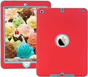 黑色保护重型坚韧 2 合 1 TPU PC 设计手机壳适用于 9.7 英寸 Apple iPad Air1 代型号:A1474、A1475、16 GB、32 GB、64 GB、128 GB Red/Blue