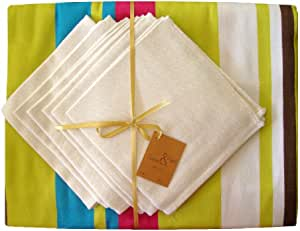 Scents and Feel 100-Percent Cotton Tablecloth Set with 6 Napkins in Satin Weave, Chartreuse