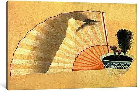 iCanvasART 13702-1PC3-40x26 Porcelain Pot with Open Fan Canvas Print by Katsushika Hokusai, 0.75 x 40 x 26-Inch