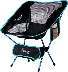 SYOURSELF 便携式折叠野营椅 - 轻便紧凑、舒适、透气沙滩旅行网布椅,重型徒步野餐户外活动与携带包+说明