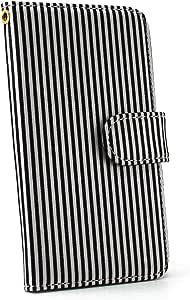 白色坚果条纹手机壳翻盖式 ブラック×ホワイト 4_ AQUOS PHONE EX SH-02F
