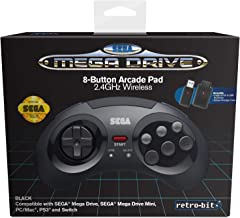 Retro-Bit Official SEGA Mega Drive 8-Button 2.4Ghz Wireless Arcade Pad for MEGA DRIVE MINI CONSOLE, Sega Mega Drive Consol...