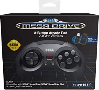 Retro-Bit Official SEGA Mega Drive 8-Button 2.4Ghz Wireless Arcade Pad for MEGA DRIVE MINI CONSOLE, Sega Mega Drive Console, PC, Switch, macOS, Playstation 3, Steam, RetroPie, Raspberry Pi (Black)